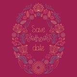 De vectorhuwelijkskaart in bloemenkader en de tekst bewaren de datum stock illustratie
