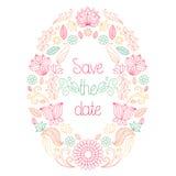 De vectorhuwelijkskaart in bloemenkader en de tekst bewaren de datum royalty-vrije illustratie