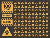De vectoricn vastgestelde voorzichtigheid van de driehoeks gele waarschuwing Royalty-vrije Stock Foto