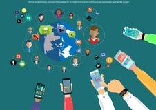 De vectorideeën van de zakenmanbrainstorming voor het gebruiken van technologie om wereldwijd handel met een mobiel telefoon vlak royalty-vrije illustratie