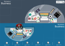 De vectorideeën van de Zakenmanbrainstorming met een mobiele tablet, potlood, document dossiers en een kop van koffie vlak ontwer Royalty-vrije Stock Foto