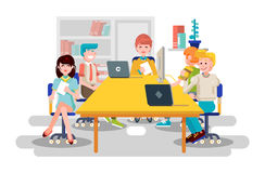 De vectorillustratie bedrijfsmensenmannen collega's van vrouwenwerknemers zitten het onderhandelen conferentie het groepswerk van stock illustratie