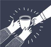 De vectorillustratie in beeldverhaalstijl met personen geeft een andere een Kop van koffie of thee van hand aan hand Royalty-vrije Stock Foto