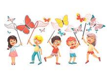 De vectorillustratie isoleerde de kinderen van het beeldverhaalkarakter, jonge naturalisten, vangen de de biologenjongens en meis royalty-vrije illustratie