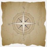 De vectorillustratie met een uitstekende kompas of een wind nam op grungeachtergrond toe Met basisrichtingen stock illustratie