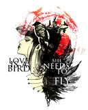 De vectorillustratie met geschilderd meisje, vogels en doorbladert stock foto's