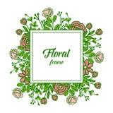 De vectorillustratie nam bloemenkadersbloei voor witte achtergrond toe royalty-vrije illustratie