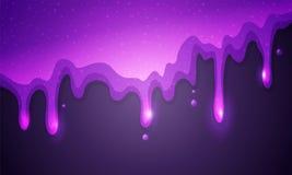 De vectorillustratie schittert slijm die op violette achtergrond druipen Glanzende purpere textuur royalty-vrije illustratie