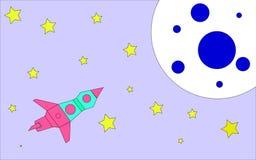 De vectorillustratie in de stijl van de kleurenraket van de kinderen` s tekening vliegt in ruimte aan de planeet met kraters stock illustratie