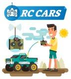 De vectorillustratie van afstandsbedieningauto's De jongen met bedieningshendelknopen drijft draadloze auto met antenne Elektroni stock illustratie