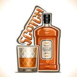 De vectorillustratie van alcohol drinkt Schotse whisky vector illustratie