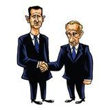 De Vectorillustratie van Bashar Al-Assad With Vladimir Putin Cartoon Royalty-vrije Stock Afbeeldingen