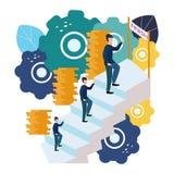 De vectorillustratie van bedrijfsgrafiek, een mens beklimt de carrièreladder Het opheffen van carrières aan succes, vlakke pictog royalty-vrije illustratie