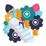 De vectorillustratie van bedrijfsgrafiek, een vrouw stelt de carrièreladder in werking Het opheffen van carrières aan succes, vla vector illustratie