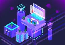 De vectorillustratie van de bedrijfswetenschapstechnologie royalty-vrije illustratie