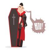 De vectorillustratie van beeldverhaaldracula Halloween Grappig karakter Stock Fotografie