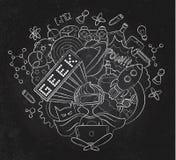 De vectorillustratie van de beeldverhaalkrabbel, Achtergrond, behang, patroon, textuur, achtergrond, Geek nerd gamer vector illustratie