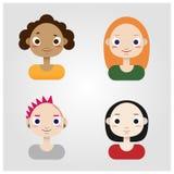 De Vectorillustratie van beeldverhaalmeisjes Stock Foto's