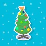 De vectorillustratie van de beeldverhaalsticker van een vlakke kunstkerstboom stock illustratie