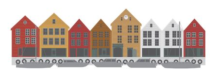 De vectorillustratie van Bergen Norway Downtown Waterfront stock afbeeldingen