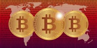 De vectorillustratie van de Bitcoinvoorraad Digitale munt Cryptocurrency Gouden muntstukken met bitcoinsymbool op de wereldkaart Stock Foto