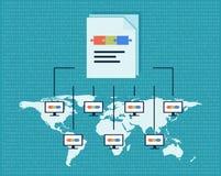 De vectorillustratie van de Blockchaintechnologie Het openbare gegevensbestand van transacties wordt op computers geregistreerd d stock illustratie