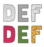De vectorillustratie van brieven D E-F met differen stock illustratie