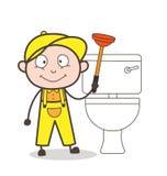 De Vectorillustratie van Cleaning Toilet Seat van de beeldverhaalloodgieter vector illustratie