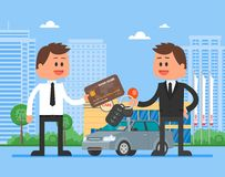 De vectorillustratie van de autoverkoop Klant het kopen auto van handelaarsconcept Verkoper die sleutel geven aan nieuwe eigenaar Stock Foto