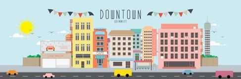 De vectorillustratie van de binnenstad Stock Afbeeldingen