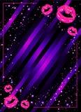 De vectorillustratie van de de partijaffiche van de meisjesnacht met glanzende roze lippen Royalty-vrije Stock Afbeeldingen