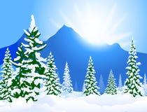 De Vectorillustratie van de de winterzonneschijn Stock Afbeeldingen