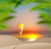 De vectorillustratie van de de zomervakantie met cocktail Stock Foto
