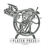 De vectorillustratie van de drukcilinderpers Oud letterzetsel Stock Foto's