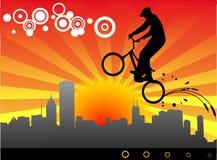 De vectorillustratie van de fietser Stock Fotografie