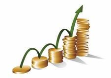 De vectorillustratie van de geldgroei Stock Foto's