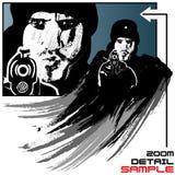 De vectorillustratie van de gewapende gangster in grungestijl Royalty-vrije Stock Foto