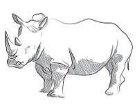 De vectorillustratie van de handtekening van rinoceros status Stock Afbeelding