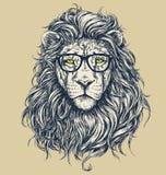 De vectorillustratie van de Hipsterleeuw Gescheiden glazen Royalty-vrije Stock Foto