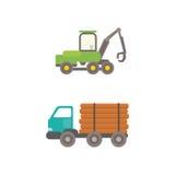 De vectorillustratie van de houtvrachtwagen Royalty-vrije Stock Foto's