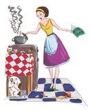 De vectorillustratie van de huisvrouw Stock Afbeeldingen