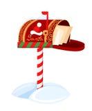 De Vectorillustratie van de kerstmans brievenbus van een brief voor Santa Claus Merry Christmas en Gelukkig Nieuwjaar De lijstsne stock illustratie