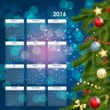 2016 de Vectorillustratie van de nieuwjaarkalender Stock Foto
