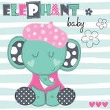 De vectorillustratie van de olifantsbaby Stock Fotografie