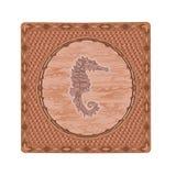 De vectorillustratie van de Seahorsehoutdruk Stock Afbeeldingen