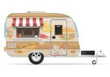 De vectorillustratie van de snel voedselaanhangwagen Stock Foto's