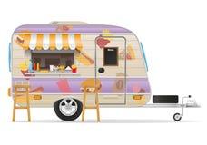 De vectorillustratie van de snel voedselaanhangwagen Royalty-vrije Stock Fotografie