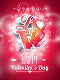 De vectorillustratie van de Valentijnskaartendag met 3d ontwerp van de Liefdetypografie op glanzende achtergrond Royalty-vrije Stock Fotografie