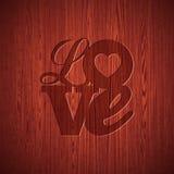 De vectorillustratie van de Valentijnskaartendag met het gegraveerde ontwerp van de Liefdetypografie op houten textuurachtergrond Royalty-vrije Stock Afbeelding