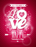 De vectorillustratie van de Valentijnskaartendag met het ontwerp van de Liefdetypografie op glanzende achtergrond Stock Afbeeldingen